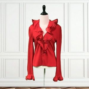 St. John Evening By Marie Grey Red Long Sleeve Top